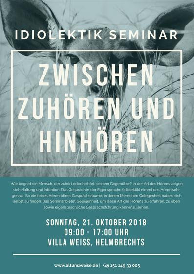 Flyer Idiolektik-Seminar Zwischen Zuhören und Hinhören